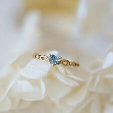 Exquisite Yellow Gold Filled Heart Aquamarine Ring Wedding Jewelry Sz6-10