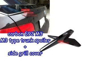 Carbon Fiber BMW 07-13 E92 M3 Type Trunk Spoiler + Side Grill Cover ◎