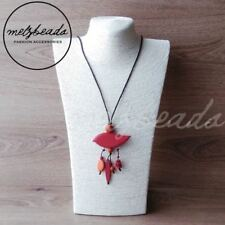 Red Bird Pendant Wooden Necklace Fashion Women  Bead Gift for Her