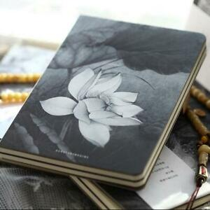 """Lotus Flower"" 1pc Hard Cover White Blank Papers Journal Drawing Sketchbook Memo"