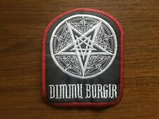 DIMMU BORGIR + LOGO,SEW ON WHITE WITH RED EDGE EMBROIDERED PATCH