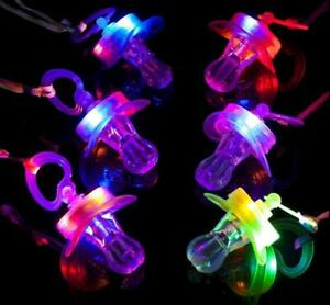 Light Up Pacifiers LED Party Glow Whistle Flashing Lanyard Party Wave 12 Pieces