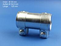 Rohrschelle Auspuff Verbinder für Ø50mm-Rohre 125mm lang verzinkt