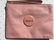 Mimco Lovely Rose pink sheepskin leather medium pouch clutch wristlet AUTHENTIC