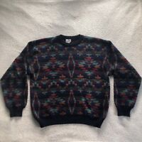 Neiman Marcus Vintage Mens Sweater 100% Wool Size XL Multi Color Made In Uruguay