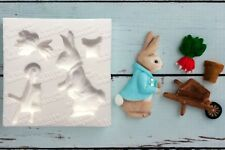 Silicone Mould Peter Rabbit  Inspired Wheelbarrow Bunny Easter, Christening M168