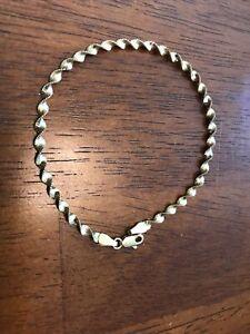 "14K Gold Italy Spiral Shaped Bracelet 2.1 Grams 7 1/4"" Long"