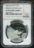 2005 CANADA $20 - MINGAN ARCHIPELAGO NATIONAL PARK - NGC PF69 UC /w BOX & COA