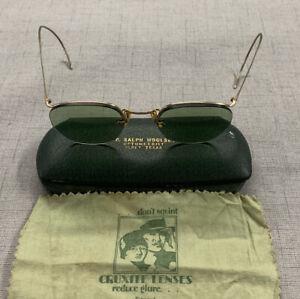 Vintage AO American Optical Numont FulVue Rimless 1/10 12K GF Eyeglasses Green