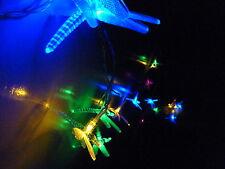 20 LED Mulit-Coloured Dragonfly Solar Christmas Outdoor Garden String Lights