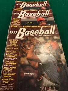 1973-1975 Street and Smith's Baseball Yearbook lot (Bench, Rose, Brock covers)