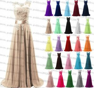 Long Chiffon Lace Evening Formal Party Gown Prom Ball Bridesmaid Dress Size 6~22