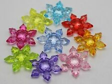 50 Mixed Colour Transparent Acrylic Snowflake Beads 28mm 2-hole Connector 28mm