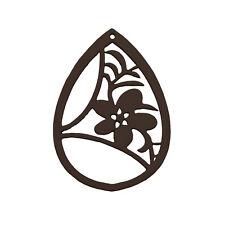 Carved Wood Flower Teardrop Pendant Black 38x52mm Pack of 1 (M99)