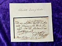 C.1815 Charlotte, Queen of Sweden & Norway handwritten, signed partial letter