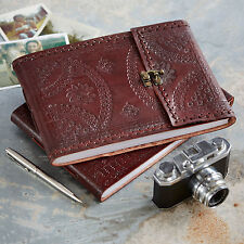 Indra Fair Trade Handmade Medium Embossed Stitched Leather Photo Album