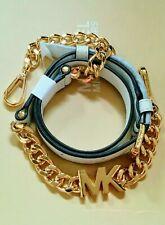 "41"" Michael Kors Gold Chain MK Logo Charm / Optic White Leather Shoulder Strap"
