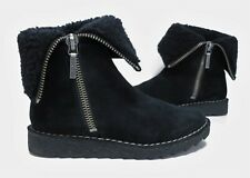 Ladies CLARKS Somerset black Suede ankle/calf fur lined Boots Size 4 D Exc Cond