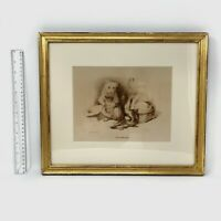 "Antique 19th Century Edward Landseer ""The Beggar"" Etching"