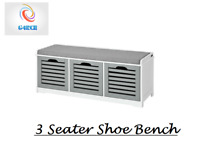 Grey/White 3 Seat Wooden Padded Shoe Bench Seat Cabinet Organiser Storage Draw