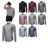 FashionOutfit Men's Solid Basic Button-Collar Cotton Chambray Long Sleeve Shirt