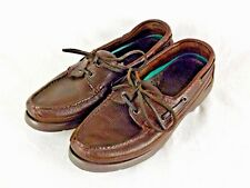 Red Head Brown Leather Mens Shoes Lace Loafer Moccasin Boat 8 Wide US EUC