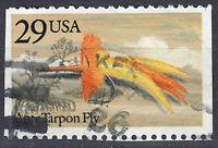 USA Briefmarke gestempelt 29c Ante Tarpon Fly Fisch Rundstempel Markenheft / 86