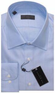 NEW IKE BEHAR MEDIUM BLUE DIAGONAL TWILL CLASSIC FIT DRESS SHIRT 17 34/35