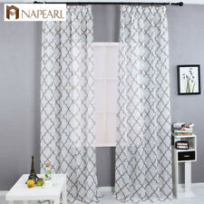 NAPEARL 1 Panel Tulle Sheer Curtain Jacquard Pull Pleated Tape Drape for Bedroom