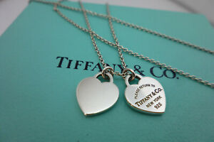 Genuine Tiffany & Co.Mini Double Heart Necklace 21 Inches & Box