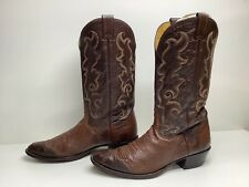 #W5 Vtg Mens Nocona Cowboy Smooth Ostrich Skin Brown Boots Size 10.5 D