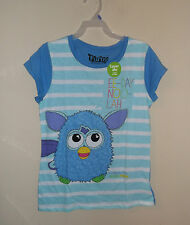 new  Ee-day-noo-lah blue Furby  t-shirt girl's sm 6/6x layering tees Hasbro toy
