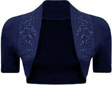 New Womens Plus Size Sequins Beaded Short Sleeve Bolero Crop Top Cardigan 8-26