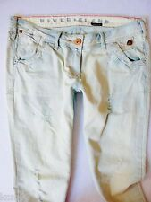River Island Ladies Jeans Size 8 R sexy slim Straight RIPS leg pale wash 28/32