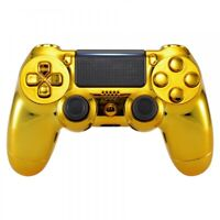 Custom Chrome Gold Housing Shell Buttons Replacement for PS4 Pro Slim Controller