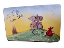 Germany animation phonecard. 2 mice sat on top of a hill watching the sunset.
