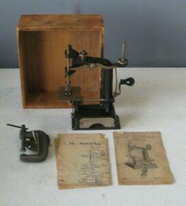 Antique 1901 Smith & Egge Automatic Sewing Machine in Box Hand Crank #MS6 RARE