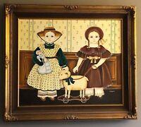 VTG FOLK ART Primitive Original Painting Girl Doll Pull Toy Sheep Farmhouse PRIM