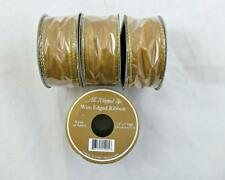 """Gold Sheer Wire Edge Ribbon 1 1/2"""" Set of 4 Rolls NEW"""