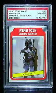 1980 topps star wars #11 boba fett rc; star file psa 8 💥 card is exploding!