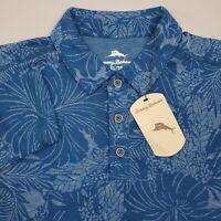 Tommy Bahama Long Sleeve Hawaiian Polo Shirt Mens Size XL Floral Teal Blue