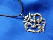 "1 1/2"" silvertone pendant on black cord necklace"