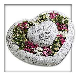 Pflanzschale Pflanzgefäss Herz Garten Blume Grab Unvergessen Grabschmuck