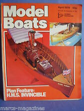 MODEL BOATS APRIL 1979 HMS INVINCIBLE PLAN HITLER CRUISER SHIP OF THE LINE ALGOL