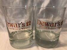 Pre-Owned Vintage Dewar's 12 Whisky Rocks Glasses Gold Lettering Pair Man Cave