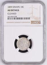 1899 Straits Settlements Victoria 10 Cents NGC AU Details Low Mintage