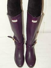 Hunter Women Boots Size 9 M Andora Purple Eggplant Wedge Heel Rain Boots Nice