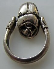 Sterling Silver 925 Spinning  Scarab Ring Pendant  Egyptian Revival Small S. 4.5