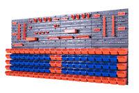 142 SET Lagersichtboxenwand Stapelboxen mit Montagewand Werkzeugwand Blau Orange