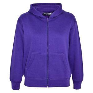 Enfants Filles Unisexe Uni Polaire Violet Capuche Fermeture Éclair Style An 2-13